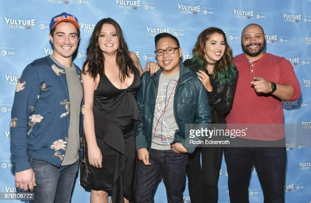 Ben Feldman Lauren Ash Nico Santos Nichole Bloom and Colton Dunn attend the 'UNReal vs Superstore PopCulture Trivia Game Show' at Vulture Festival...