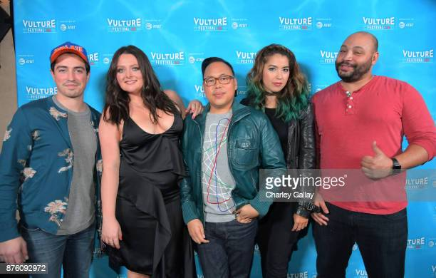 Ben Feldman Lauren Ash Nicos Santos Nichole Bloom and Colton Dunn attend the ''Unreal vs Superstore Pop Culture Trivia Game Show' part of Vulture...