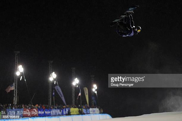 Ben Ferguson rides to third place in the men's FIS Snowboard Halfpipe World Cup at the US Snowboarding and Freeskiing Grand Prix on December 21 2013...
