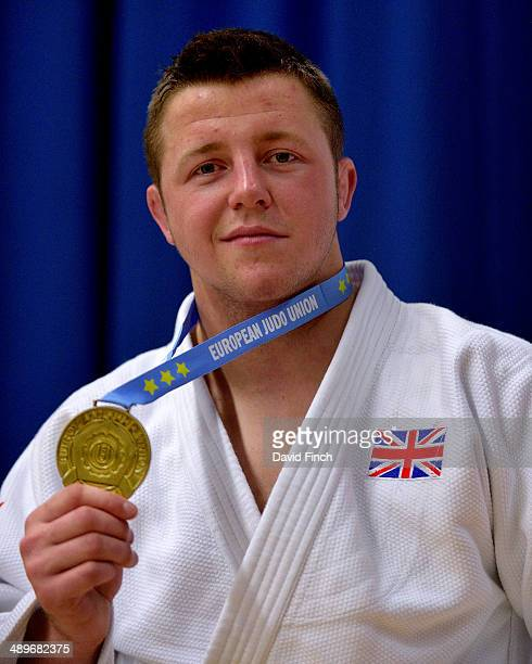 Ben Fletcher of Great Britain smilingly poses with his u100kg gold medal during the London British Open Senior European Judo Cup at the K2 Arena on...