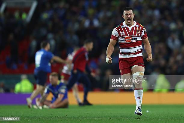 Ben Flower of Wigan runs to his supporters as he celebrates his sides 126 victory at the final whistle during the First Utility Super League Final...
