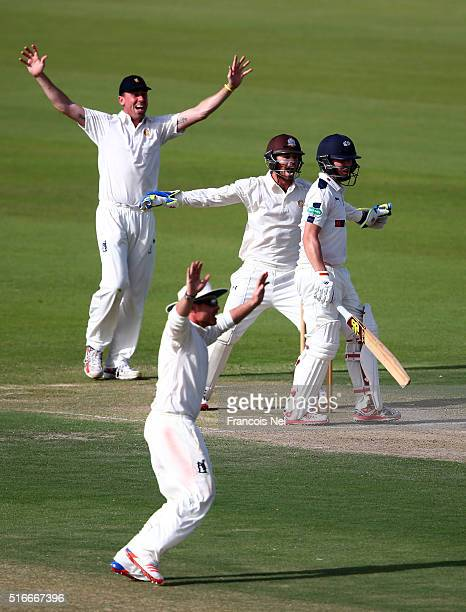 Ben Foakes Ian Bell and Rikki Clarke of MCC appeals for the wicket of Gary Ballance of Yorkshire during day one of the Champion County match between...