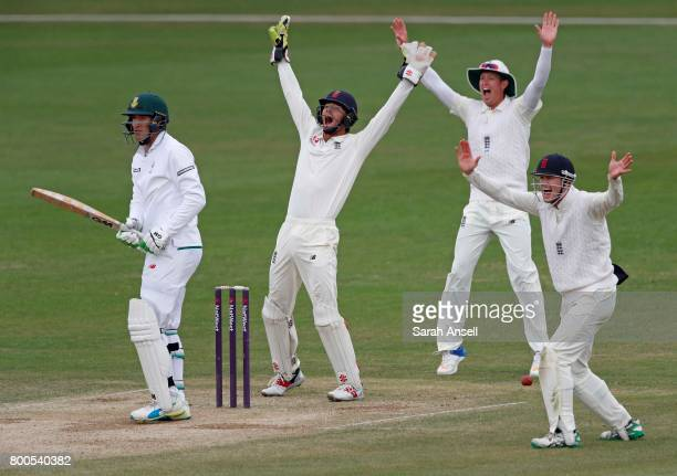 Ben Foakes Keaton Jennings and Nick Gubbins of England Lions appeal successfully for the wicket of South Africa A's Duanne Olivier during day 4 of...