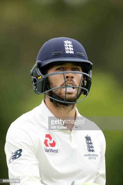 Ben Foakes of England leaves the field after being caught by Josh Philippe of Australia during the Two Day tour match between the Cricket Australia...