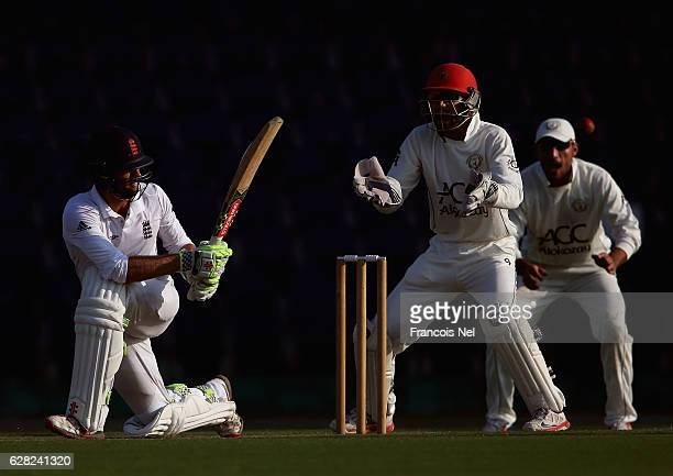 Ben Foakes of England Lions bats during day one of the tour match between England Lions and Afghanistan at Zayed Cricket Stadium on December 7 2016...