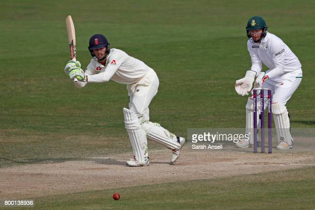 Ben Foakes of England Lions hits out as South Africa A wicket keeper Heinrich Klaasen looks on during day 3 of the match between England Lions and...