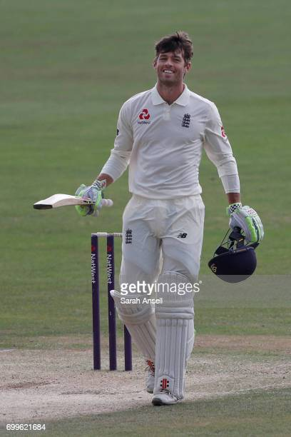 Ben Foakes of England Lions reacts after reaching a century during day 2 of the match between England Lions and South Africa A at The Spitfire Ground...