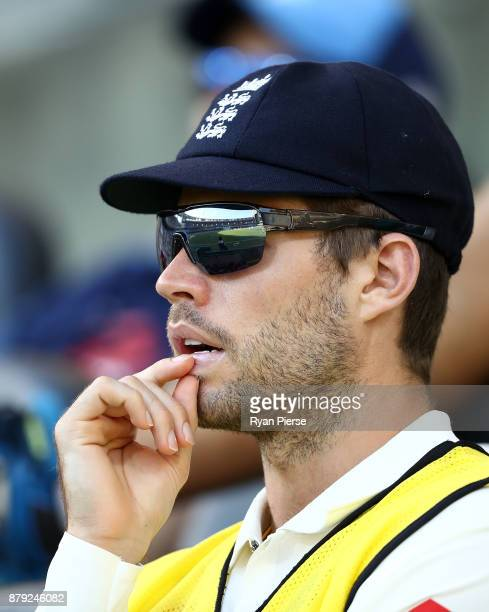 Ben Foakes of England looks on during day four of the First Test Match of the 2017/18 Ashes Series between Australia and England at The Gabba on...