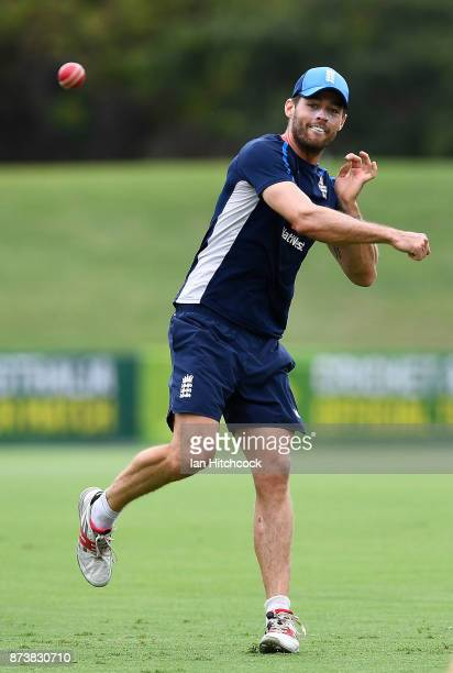 Ben Foakes of England throws the ball during a fielding drill during an England nets session at Riverway Stadium on November 14 2017 in Townsville...