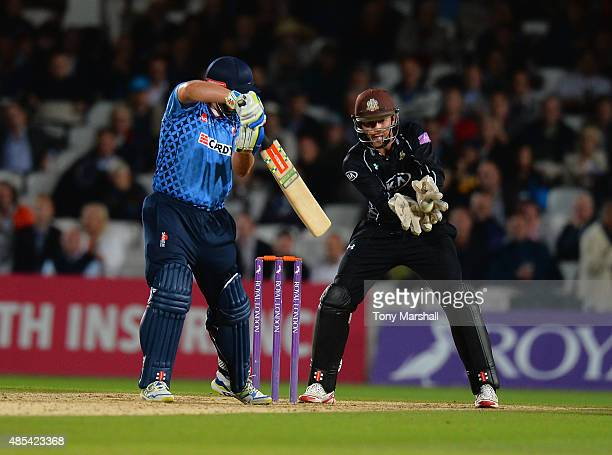 Ben Foakes of Surrey catches out James Tredwell of Kent during the Royal London OneDay Cup Quarter Final match between Surrey and Kent at The Kia...