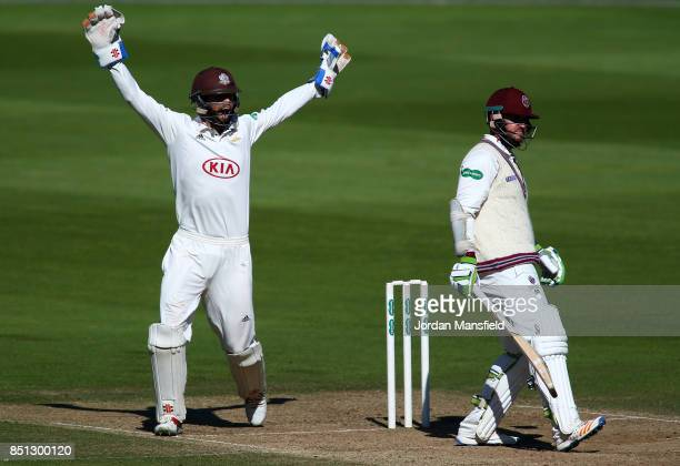 Ben Foakes of Surrey celebrates dismissing Steve Davies of Somerset during day four of the Specsavers County Championship Division One match between...