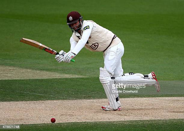 Ben Foakes of Surrey hits out during day two of the LV County Championship Division Two match between Surrey and Lancashire at The Kia Oval on June...