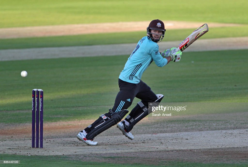 Ben Foakes of Surrey hits out during the NatWest T20 Blast South Group match between Kent Spitfires and Surrey at The Spitfire Ground on August 18, 2017 in Canterbury, England. (Photo by Sarah Ansell/Getty Images).