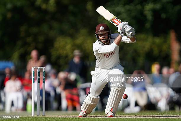 Ben Foakes of Surrey plays a shot during the Specsavers County Championship Division One match between Surrey and Warwickshire on July 2 2016 in...