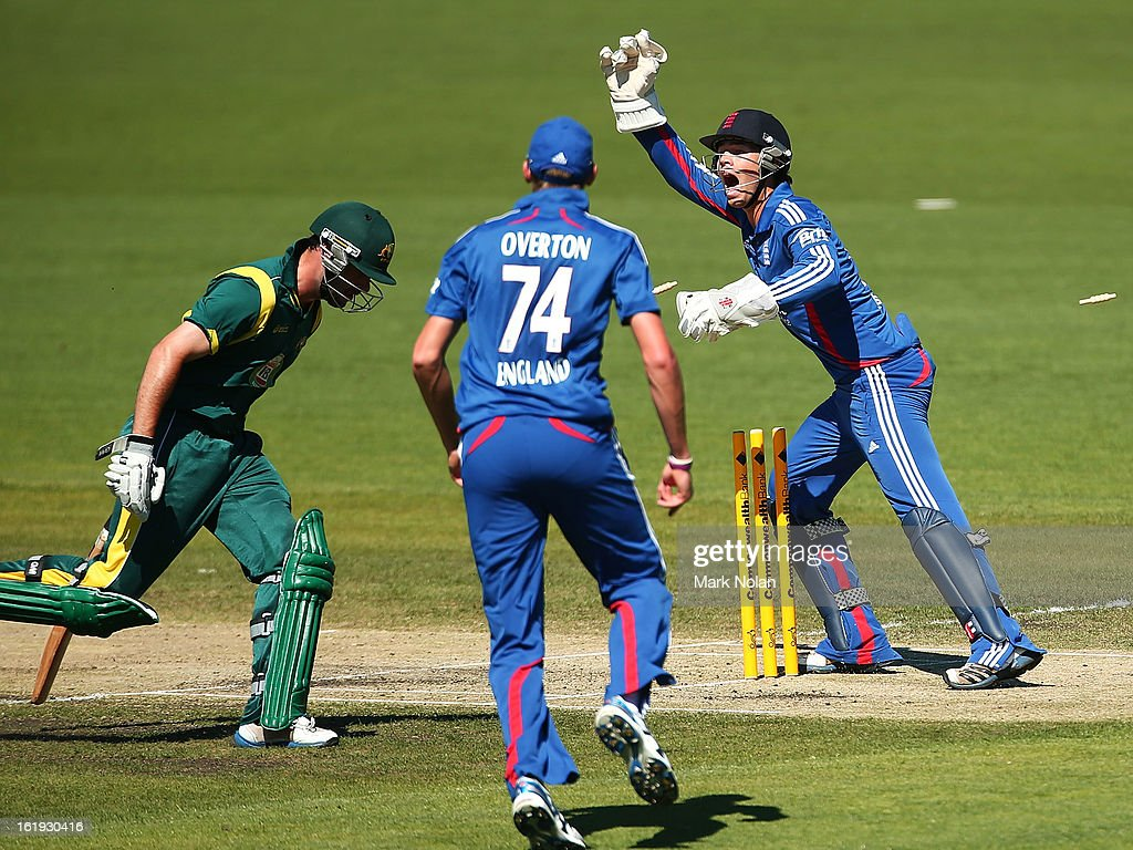 Ben Foakes (R) of the Lions appeals for the run out of Alex Doolan of Australia A during the international tour match between Australia 'A' and England at Blundstone Arena on February 18, 2013 in Hobart, Australia.