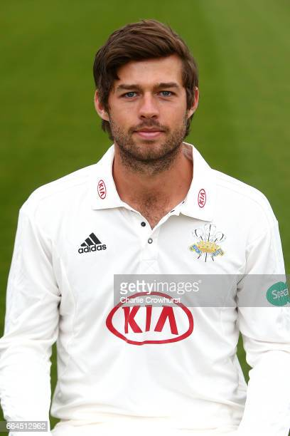 Ben Foakes poses in the Specsavers County Championship kit during the Surrey CCC Photocall at The Kia Oval on April 4 2017 in London England