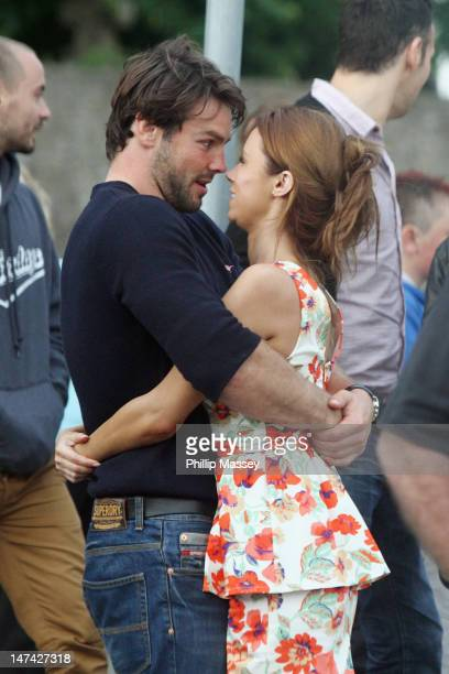 Ben Foden and Una Healy leave a local church after attending a rehearsal of their wedding on June 29 2012 in Tipperary Ireland
