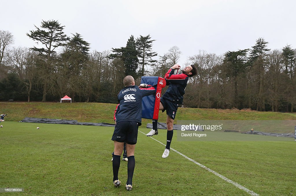 Ben Foden catches the ball during the England training session held at Pennyhill Park on January 28, 2013 in Bagshot, England.