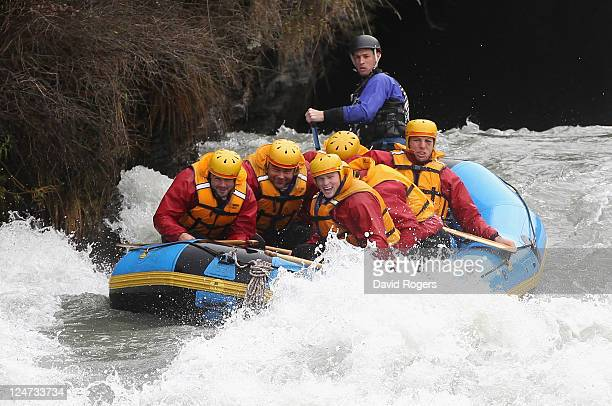 Ben Foden Nick EasterChris Ashton and James Haskell of England shoot the rapids during a white water raft run during an England IRB Rugby World Cup...