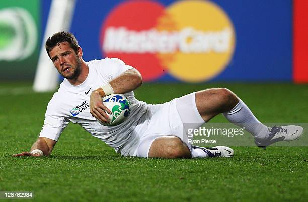 Ben Foden of England goes over to score his try during quarter final two of the 2011 IRB Rugby World Cup between England and France at Eden Park on...
