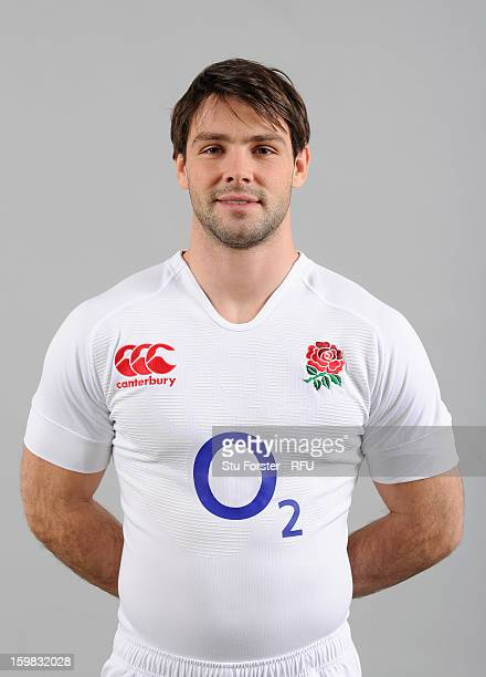 Ben Foden of England poses for a portrait during the England rugby union squad photo call at Weetwood Hall on January 21 2013 in Leeds England