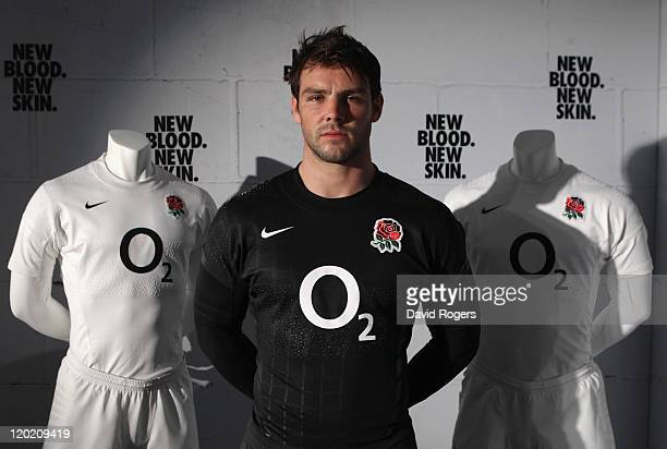 Ben Foden of England wearing the change shirt poses during the launch of the Nike England rugby world cup kit launch at Pennyhill Park on August 1...