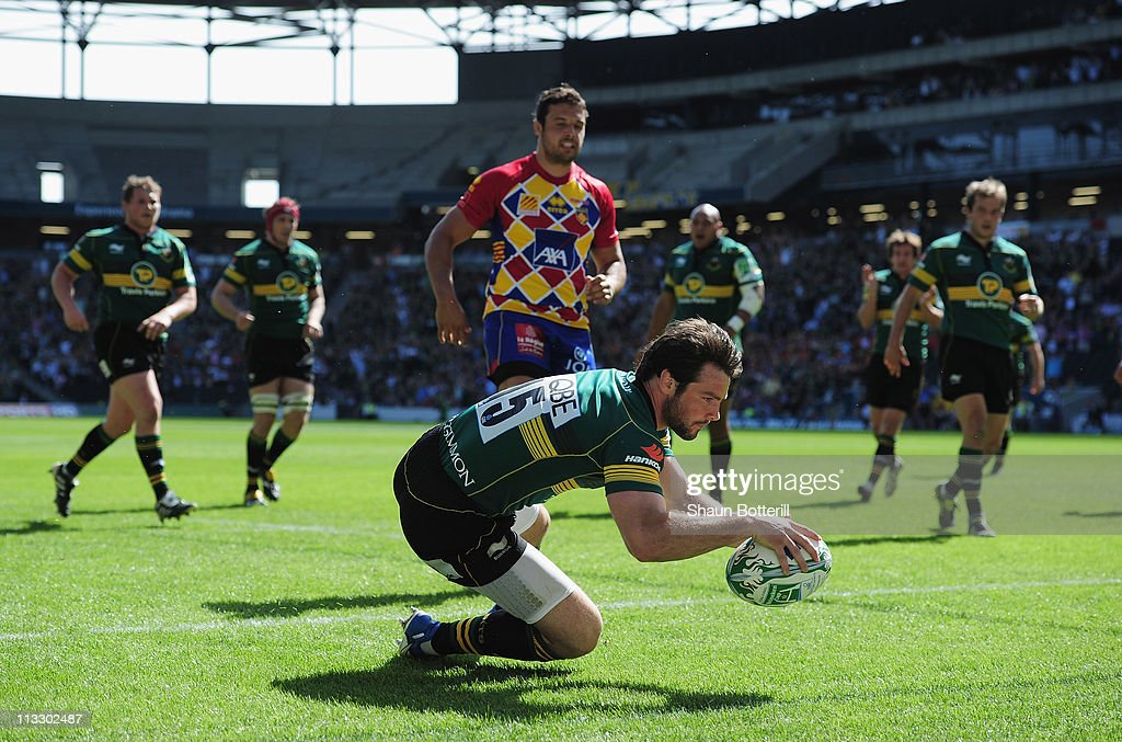 Ben Foden of Northampton Saints crosses the line to score during the Heineken Cup SemiFinal match between Northampton Saints and USA Perpignan at...