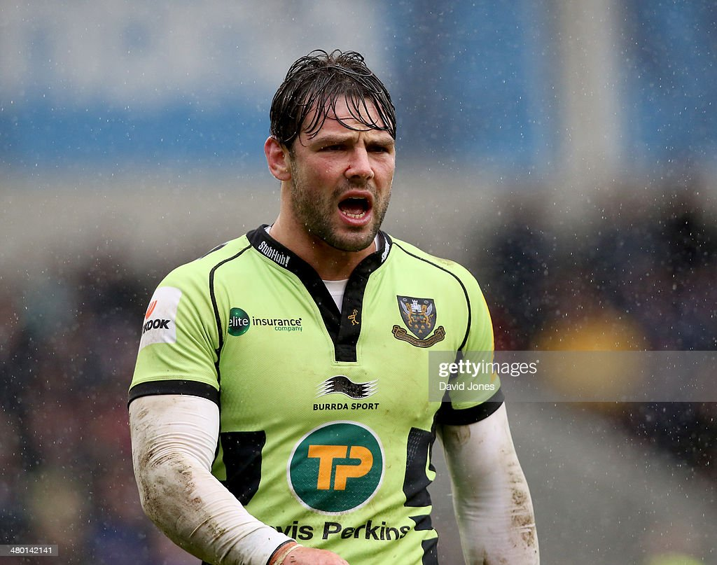 Ben Foden of Northampton Saints during the Aviva Premiership match between Sale Sharks and Northampton Saints at A J Bell Stadium on March 22, 2014 in Salford, England