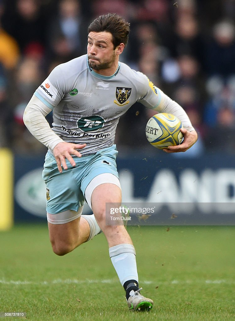 <a gi-track='captionPersonalityLinkClicked' href=/galleries/search?phrase=Ben+Foden&family=editorial&specificpeople=542798 ng-click='$event.stopPropagation()'>Ben Foden</a> of Northampton Saints in action during the Aviva Premiership match between Harlequins and Northampton Saints at Twickenham Stoop on February 6, 2016 in London, England. (Photo by Tom Dulat/Getty Images).