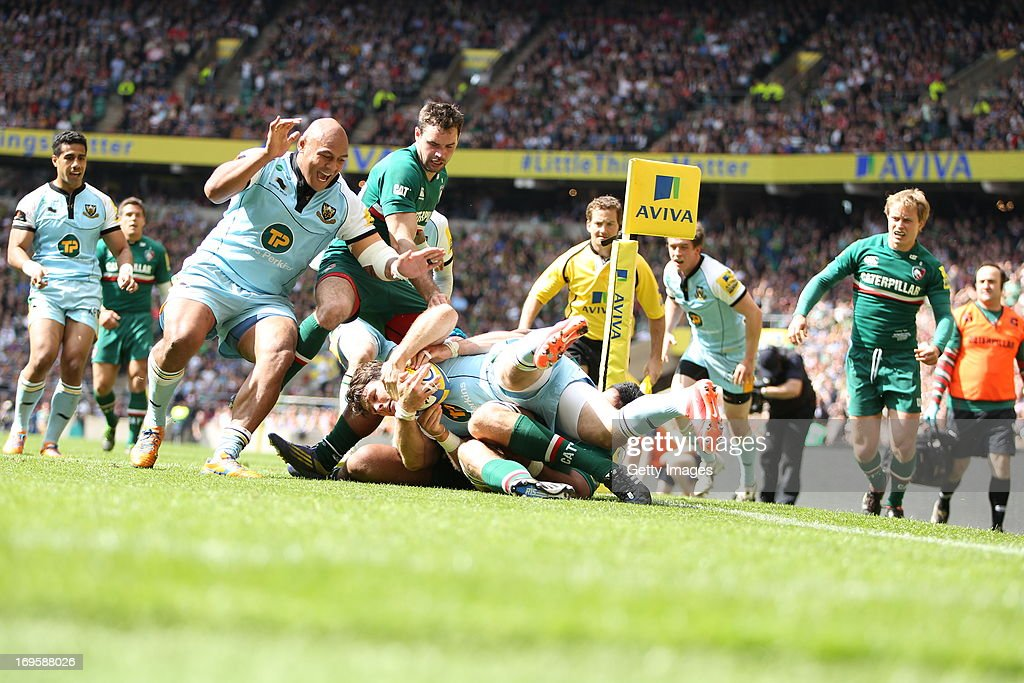 <a gi-track='captionPersonalityLinkClicked' href=/galleries/search?phrase=Ben+Foden&family=editorial&specificpeople=542798 ng-click='$event.stopPropagation()'>Ben Foden</a> of Northampton Saints is held up over the line and does not score a try during the Aviva Premiership Final between Leicester Tigers and Northampton Saints at Twickenham Stadium on May 25, 2013 in London, England.