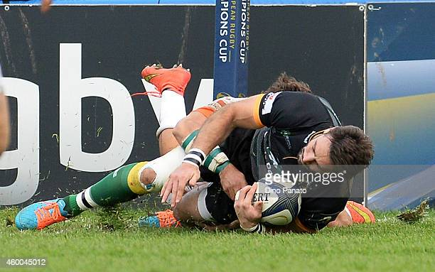 Ben Foden of Northampton Saints scores his team's third a try during the European Rugby Champions Cup Match between Benetton Treviso and Northampton...