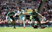 Ben Foden of Northampton splits open the Leicester defence during the Aviva Premiership Final between Leicester Tigers and Northampton Saints at...