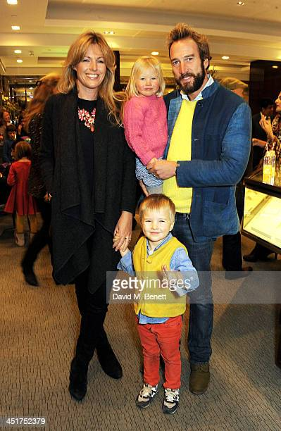 Ben Fogle and wife Marina Fogle with children Ludo and Iona attend as Joely Richardson officially opens the Tiffany Co Christmas Shop on Bond Street...