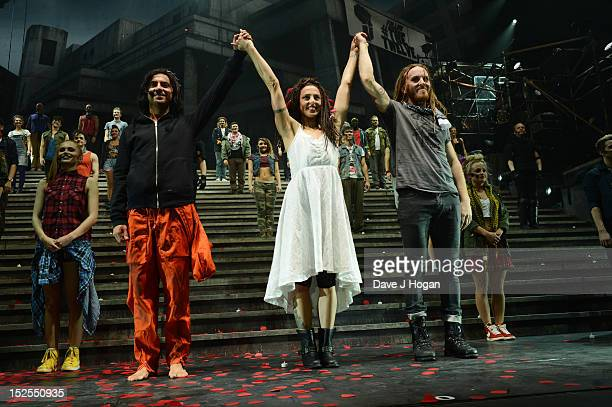 Ben Forster Mel C and Tim Minchin attend the curtain call on the press night for Jesus Christ Superstar the arena tour at The O2 Arena on September...