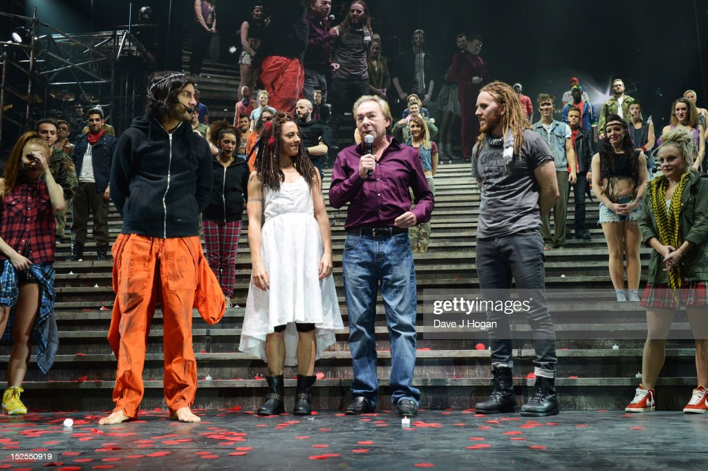 Ben Forster, Mel C, <a gi-track='captionPersonalityLinkClicked' href=/galleries/search?phrase=Andrew+Lloyd+Webber&family=editorial&specificpeople=157705 ng-click='$event.stopPropagation()'>Andrew Lloyd Webber</a> and <a gi-track='captionPersonalityLinkClicked' href=/galleries/search?phrase=Tim+Minchin&family=editorial&specificpeople=2244352 ng-click='$event.stopPropagation()'>Tim Minchin</a> attend the curtain call on the press night for Jesus Christ Superstar, the arena tour at The O2 Arena on September 21, 2012 in London, England.