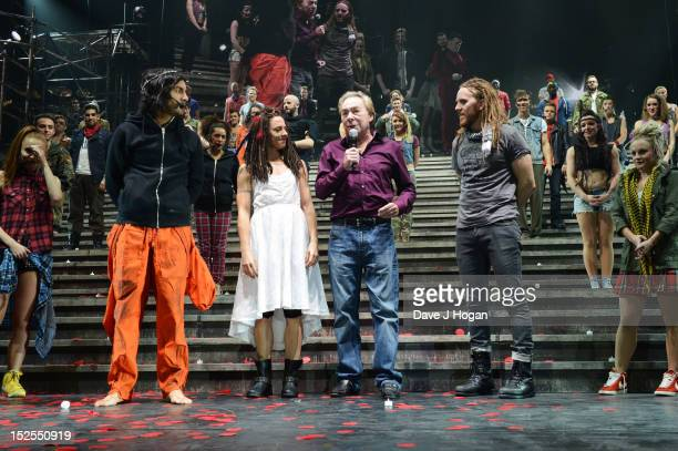 Ben Forster Mel C Andrew Lloyd Webber and Tim Minchin attend the curtain call on the press night for Jesus Christ Superstar the arena tour at The O2...
