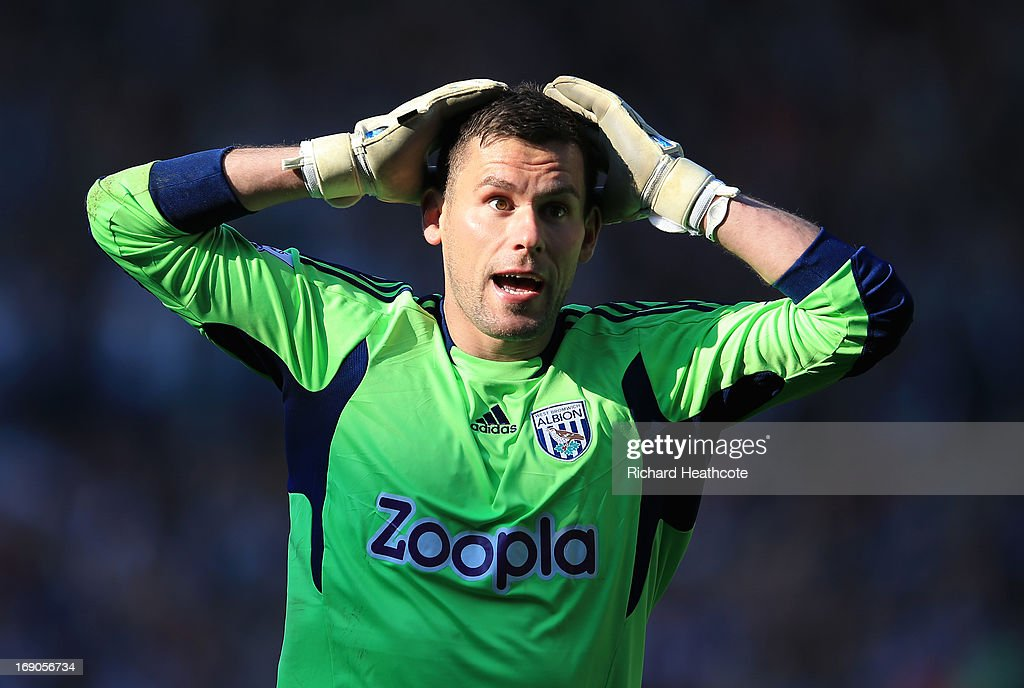 Ben Forster of West Bromwich Albion reacts during the Barclays Premier League match between West Bromwich Albion and Manchester United at The Hawthorns on May 19, 2013 in West Bromwich, England.
