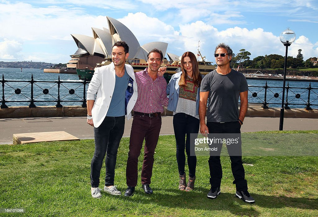 Ben Forster,<a gi-track='captionPersonalityLinkClicked' href=/galleries/search?phrase=Andrew+O%27Keefe&family=editorial&specificpeople=707895 ng-click='$event.stopPropagation()'>Andrew O'Keefe</a>, Melanie C and Jon Stevens from the cast of Jesus Christ Superstar pose for media at Hicksons Road Reserve in The Rocks, on March 20, 2013 in Sydney, Australia.