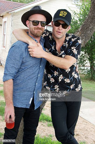 Ben Foster and Chris Pine at the 'Hell or High Water' Press Conference at the Star Hill Ranch on July 19 2016 in Austin Texas