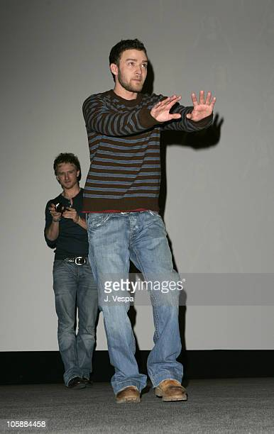 Ben Foster and Justin Timberlake during 2006 Sundance Film Festival 'Alpha Dog' Premiere Inside at The Eccles in Park City Utah United States