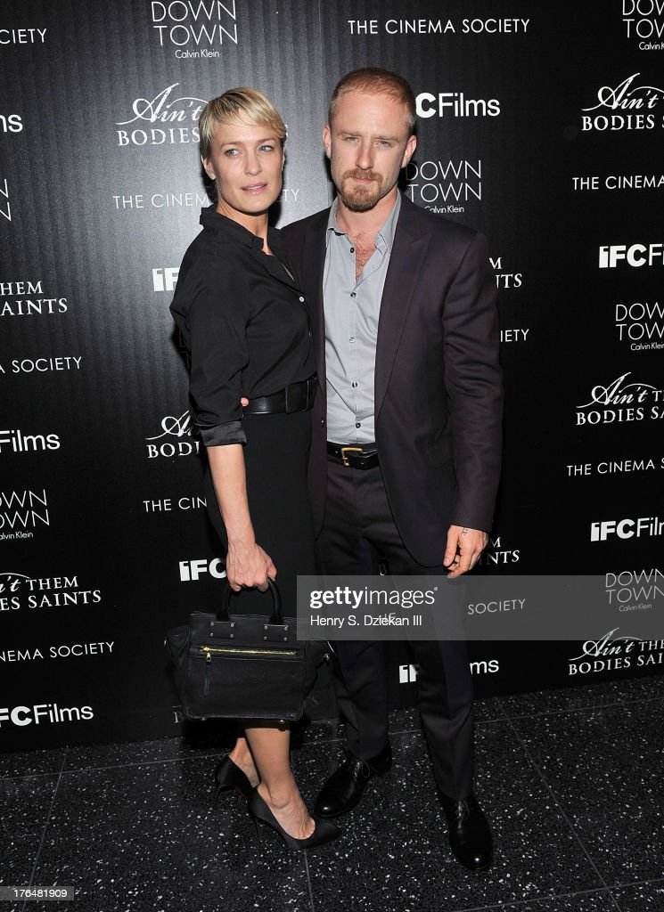 Ben Foster and <a gi-track='captionPersonalityLinkClicked' href=/galleries/search?phrase=Robin+Wright&family=editorial&specificpeople=207147 ng-click='$event.stopPropagation()'>Robin Wright</a> attend the Downtown Calvin Klein with The Cinema Society screening of IFC Films' 'Ain't Them Bodies Saints' at Museum of Modern Art on August 13, 2013 in New York City.