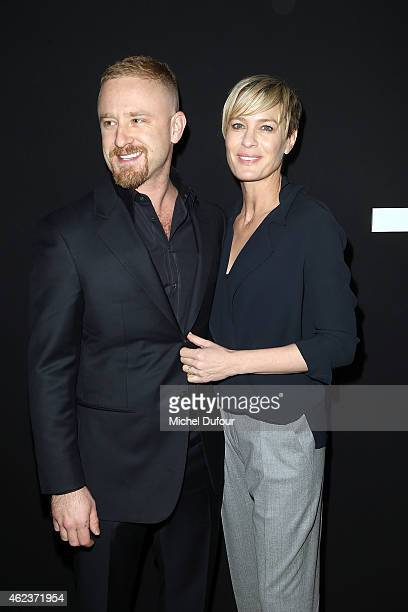 Ben Foster and Robin Wright attend the Giorgio Armani Prive show as part of Paris Fashion Week HauteCouture Spring/Summer 2015 on January 27 2015 in...