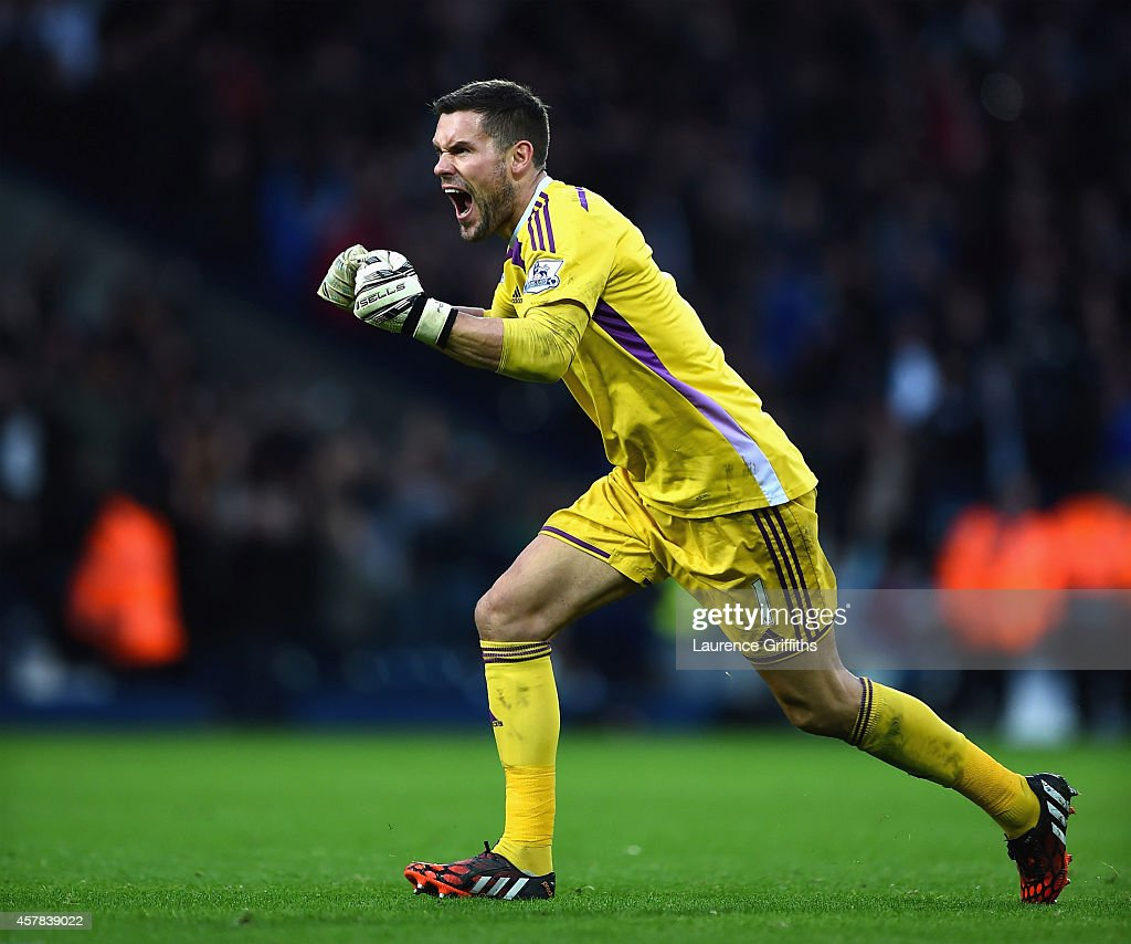 Ben Foster of West Brom celebrates after Saido Berahino of West Brom scored a late penalty to make it 2-2 during the Barclays Premier League match between West Bromwich Albion and Crystal Palace at The Hawthorns on October 25, 2014 in West Bromwich, England.