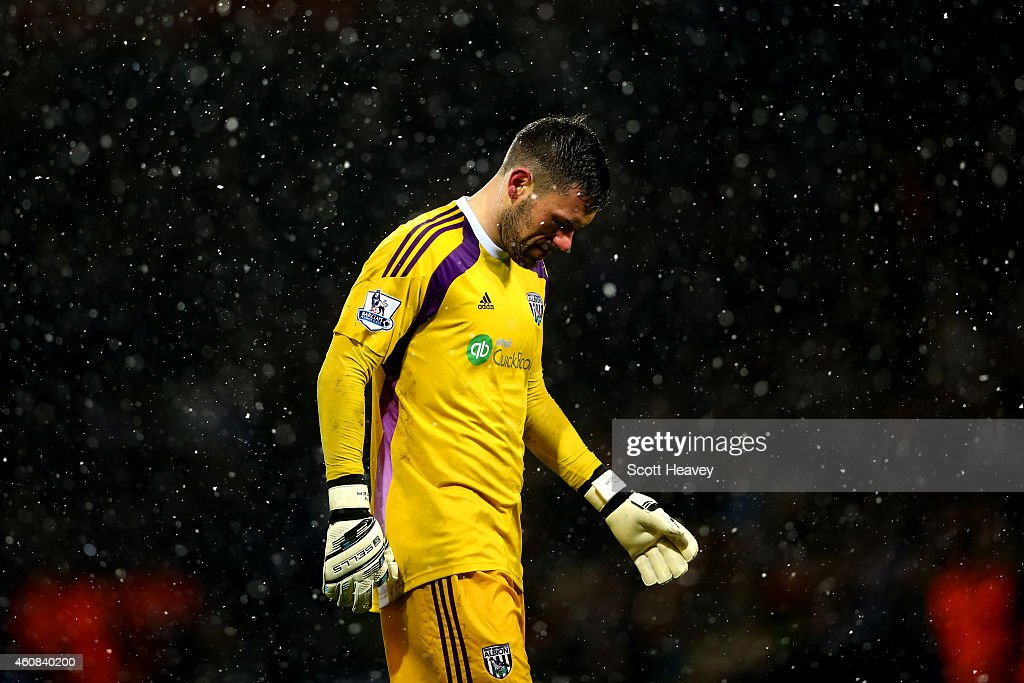 Ben Foster of West Brom shows his dejection during the Barclays Premier League match between West Bromwich Albion and Manchester City at The...