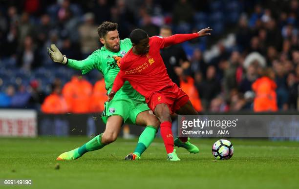 Ben Foster of West Bromwich Albion and Georginio Wijnaldum of Liverpool during the Premier League match between West Bromwich Albion and Liverpool at...