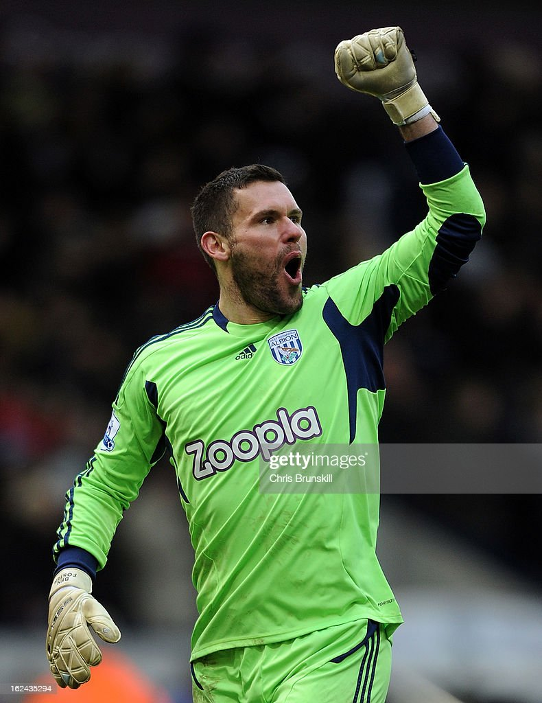 Ben Foster of West Bromwich Albion celebrates his side's second goal during the Barclays Premier League match between West Bromwich Albion and Sunderland at The Hawthorns on February 23, 2013 in West Bromwich, England.