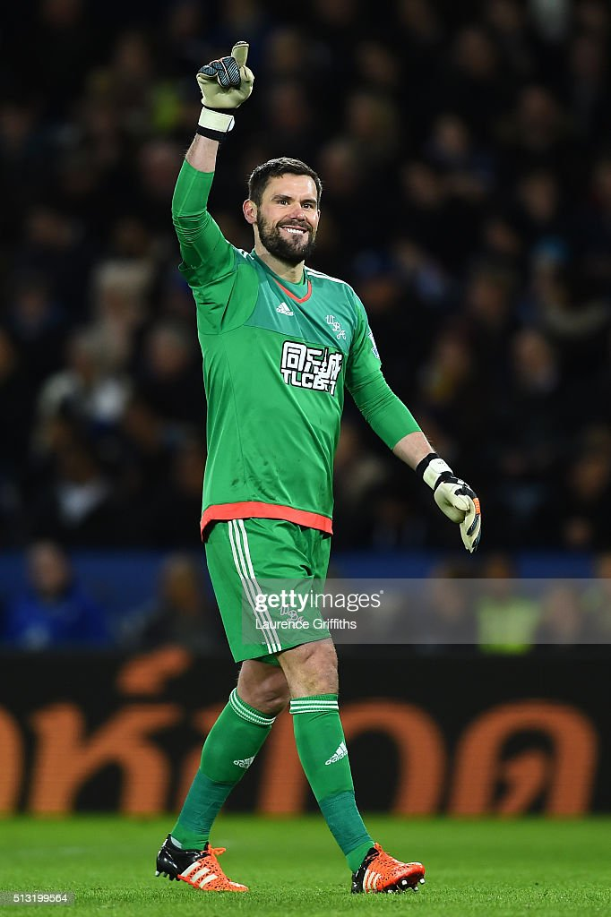 <a gi-track='captionPersonalityLinkClicked' href=/galleries/search?phrase=Ben+Foster+-+Soccer+Player&family=editorial&specificpeople=5333104 ng-click='$event.stopPropagation()'>Ben Foster</a> of West Bromwich Albion celebrates his team's first goal during the Barclays Premier League match between Leicester City and West Bromwich Albion at The King Power Stadium on March 1, 2016 in Leicester, England.