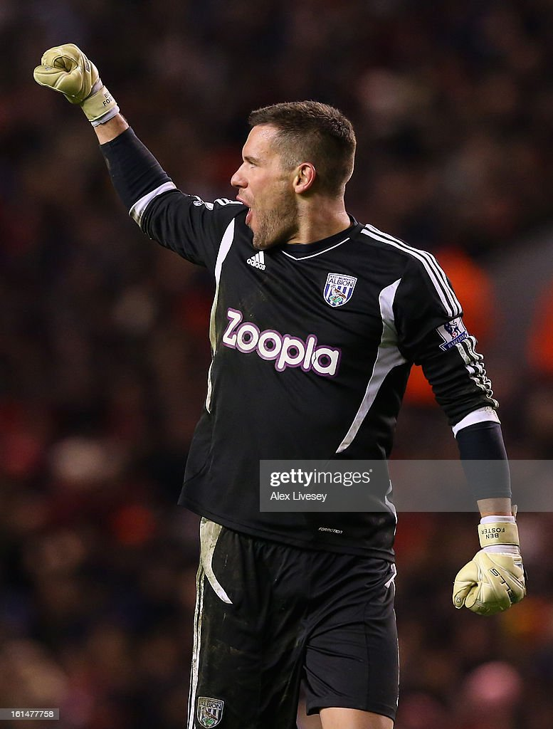 Ben Foster of West Bromwich Albion celebrates the opening goal during the Barclays Premier League match between Liverpool and West Bromwich Albion at Anfield on February 11, 2013 in Liverpool, England.