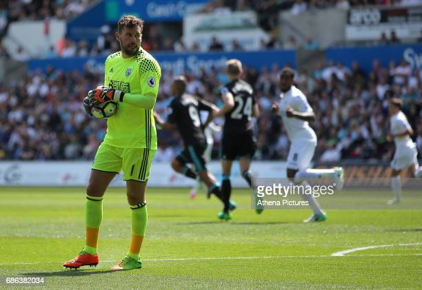Ben Foster of West Bromwich Albion looks towards his away supporters during the Premier League match between Swansea City and West Bromwich Albion at...