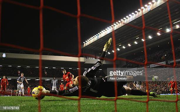 Ben Foster of West Bromwich Albion saves the penalty kick of Steven Gerrard of Liverpool during the Barclays Premier League match between Liverpool...